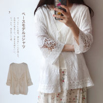 Lace / Chiffon Summer of 2019 White, off white Average size three quarter sleeve Sweet Cardigan singleton  easy Medium length V-neck Solid color routine 25-29 years old Hollowing, embroidery, crocheting, hollowing, splicing, lacing, making old 91% (inclusive) - 95% (inclusive) cotton Countryside