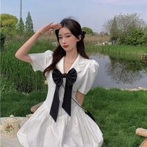 Dress Summer 2021 White black S M Short skirt singleton  Short sleeve commute tailored collar High waist Solid color Socket A-line skirt routine Others 18-24 years old Type A Qingqing leisurely Korean version More than 95% other other New polyester fiber 100% Pure e-commerce (online only)