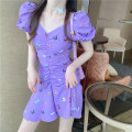 Dress Summer 2021 White purple S M Short skirt singleton  Short sleeve commute V-neck High waist Decor Socket A-line skirt puff sleeve Others 18-24 years old Type A Qingqing leisurely Korean version 1559# More than 95% other other New polyester fiber 100% Pure e-commerce (online only)