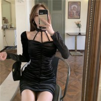 Dress Spring 2021 Velvet black dress S M Middle-skirt singleton  Long sleeves commute Crew neck High waist Solid color Socket One pace skirt routine Hanging neck style 18-24 years old Type A Qingqing leisurely Korean version Pleated zipper g3plah More than 95% corduroy other