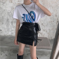 Fashion suit Summer 2021 S m average White T-shirt black T-shirt small leather skirt 18-25 years old Qingqing leisurely #1410 31% (inclusive) - 50% (inclusive) spandex New polyester fiber 100% Pure e-commerce (online only)