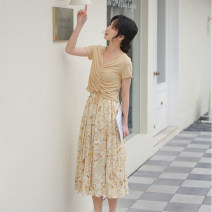 skirt Summer 2021 Average size Yellow grey green Mid length dress commute High waist A-line skirt Abstract pattern Type A 25-29 years old More than 95% Chiffon Autumn Narcissus polyester fiber Pleated printing Retro Polyester 100% Pure e-commerce (online only)