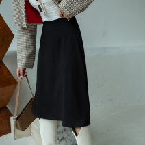 skirt Spring 2021 XS S M L XL XXL 3XL Black (spring and Autumn) longuette commute High waist A-line skirt Solid color Type A 25-29 years old 0022111-1 More than 95% other Autumn Narcissus polyester fiber zipper Ol style Polyester 100% Exclusive payment of tmall