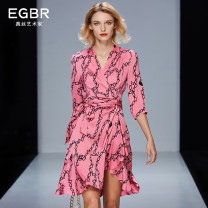 Dress Spring 2021 Rose [Quarter Sleeve version] black [Quarter Sleeve version] rose [short sleeve version] black [short sleeve version] S M L XL XXL Mid length dress singleton  three quarter sleeve commute V-neck High waist stripe other Irregular skirt routine 40-49 years old Type X Engelberg velvet