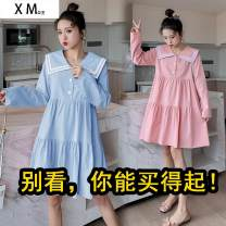 Dress Willison Pink white blue yellow M L XL XXL Korean version Long sleeves have more cash than can be accounted for autumn other Solid color
