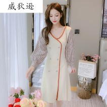 Dress Winter 2020 Apricot S M L Short skirt singleton  Long sleeves commute V-neck middle-waisted Socket A-line skirt bishop sleeve 18-24 years old Type A Willison Korean version QYS7X9 More than 95% knitting other Other 100.00%