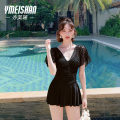 one piece  Yi Meishan M L XL XXL Sauce black white One piece flat corner swimsuit With chest pad without steel support YMS218007-1 Spring 2021 no female Short sleeve Casual swimsuit Solid color backless