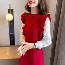 Dress Spring 2021 Red, black Average size Middle-skirt Fake two pieces Long sleeves commute Crew neck Loose waist Solid color Socket A-line skirt routine 25-29 years old Type A Other / other Korean version Auricularia auricula, stitching, lace 51% (inclusive) - 70% (inclusive) knitting