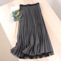skirt Autumn 2020 Average size Black with black mesh, coffee with coffee mesh, beige with beige mesh, gray with black mesh Mid length dress Versatile Natural waist A-line skirt Solid color Type A Lace