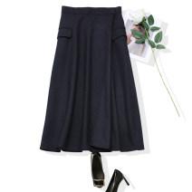 skirt Autumn of 2019 S,M,L,XL Deep Tibetan green Mid length dress commute High waist A-line skirt stripe Type A 30% and below wool pocket