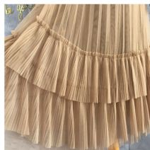 skirt Winter 2020 One size fits all (elastic waist 85-120kg) Black, apricot, Dark Khaki Mid length dress High waist Cake skirt Pleating, pleating, gauze