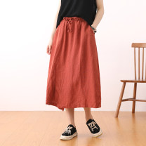 skirt Summer 2021 Average size Black, showy red, dark grey, khaki, army green longuette commute Natural waist A-line skirt Solid color Type A 25-29 years old 71% (inclusive) - 80% (inclusive) other hemp literature