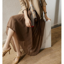 skirt Spring 2021 S M L XL Brown Mid length dress commute Natural waist A-line skirt other SQ316468MG More than 95% Xhange / Xiaohan Pavilion silk Pleated zipper panel Ol style Mulberry silk 100%