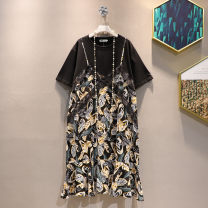 Women's large Summer 2021 Picture color Large XL, large XXL, large XXL, large XXXXL, large L Dress Fake two pieces commute easy moderate Socket Short sleeve Korean version Crew neck Medium length routine 25-29 years old