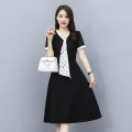 Dress Summer 2021 black M L XL 2XL 3XL Mid length dress singleton  Short sleeve commute other High waist Solid color zipper Big swing routine Others 30-34 years old Type A Xincaixing Korean version Splicing XCX21BL9103 More than 95% Chiffon polyester fiber Polyester 100% Pure e-commerce (online only)