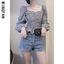 shirt Plaid coat Average size Autumn 2020 other 96% and above Long sleeves commute Regular One word collar Socket puff sleeve lattice 18-24 years old Self cultivation Famous model (clothing) Korean version Pleated fold Other 100% Pure e-commerce (online only)