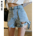 Jeans Spring 2021 Blue black S M L shorts High waist Wide legged trousers routine 18-24 years old Worn out zipper Dark color Famous model (clothing) 96% and above Other 100% Pure e-commerce (online only)