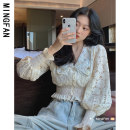 Lace / Chiffon Spring 2021 Apricot S M Long sleeves commute Cardigan singleton  easy have cash less than that is registered in the accounts Doll Collar Solid color puff sleeve 18-24 years old Famous model (clothing) MF9619 Lace Korean version 96% and above Other 100% Pure e-commerce (online only)