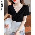 T-shirt White black S M L XL Summer 2021 Short sleeve V-neck Self cultivation have cash less than that is registered in the accounts routine commute other 96% and above 18-24 years old Korean version Solid color Famous model (clothing) Other 100% Pure e-commerce (online only)
