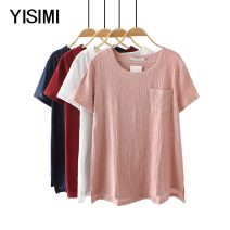 Middle aged and old women's wear Summer of 2018 M L XL XXL XXXL 4XL fashion T-shirt easy singleton  Solid color Socket thin Crew neck routine Isimi cotton Cotton 85% polyester 15% 81% (inclusive) - 90% (inclusive) Pure e-commerce (online only) Short sleeve