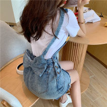Dress Summer 2021 Suspenders, T-shirt S. M, l, average size Short skirt singleton  Sleeveless commute other High waist Solid color Socket One pace skirt routine straps 18-24 years old Type H Other / other Korean version 51% (inclusive) - 70% (inclusive) Denim other