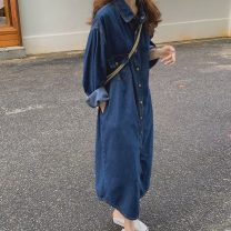 Dress Autumn 2020 Picture color Average size longuette singleton  Long sleeves commute Polo collar Loose waist Solid color Single breasted other other 18-24 years old Type H Korean version Pocket, button