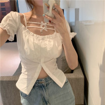 shirt Black shirt, white shirt, black sling, white sling Average size Summer 2021 other 96% and above Short sleeve commute Short style (40cm < length ≤ 50cm) One word collar Single row multi button puff sleeve Solid color 18-24 years old Self cultivation Other / other Korean version