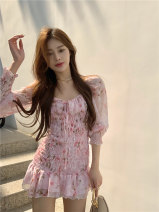 Dress Summer 2021 Pink Average size Short skirt singleton  Long sleeves commute square neck High waist Decor Socket One pace skirt routine Others 18-24 years old Type A Other / other Korean version 51% (inclusive) - 70% (inclusive) other other