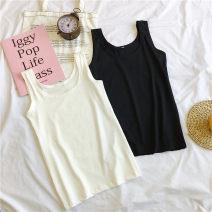 Vest sling Summer of 2019 Black and white M L XL XXL singleton  have cash less than that is registered in the accounts Self cultivation I-shaped Solid color 18-24 years old 91% (inclusive) - 95% (inclusive) polyester fiber Jiafei's Poems Polyester 95% polyurethane elastic fiber (spandex) 5%