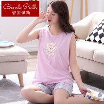 Pajamas / housewear set female Biamper 2XL3XLXXXXLSXXXXXLMLXL 1709 main drawing 17051716172017221728 cotton Sleeveless Cartoon Leisure home summer Thin money Crew neck Cartoon animation shorts youth 2 pieces rubber string More than 95% pure cotton printing 37814L77079 200g and below Autumn of 2018