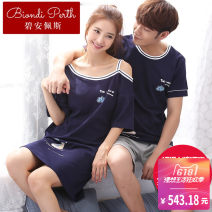 Pajamas / housewear set lovers Biamper cotton Short sleeve sexy Living clothes summer routine Crew neck Cartoon animation shorts Socket 2 pieces rubber string More than 95% pure cotton printing 200g Cotton 100% Spring of 2018 Pure e-commerce (online only) Cotton 100% Middle-skirt