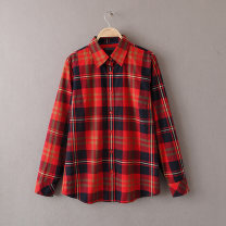 shirt Red grid, yellow grid, green grid M, L Spring of 2019 other 96% and above Long sleeves Versatile Regular Single row multi button routine lattice