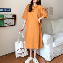 Women's large Summer 2020 Black orange Large L Large XL M Dress singleton  commute moderate Socket Short sleeve Solid color Korean version Polo collar Medium length Cotton others routine Pedophile 18-24 years old Button 96% and above longuette other Three buttons