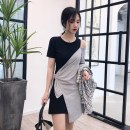 Dress Summer of 2019 Black, grey, grey, black XL S M L Mid length dress singleton  Short sleeve commute Crew neck High waist Solid color Socket A-line skirt routine Others 18-24 years old Type A Beethoven Korean version 2019102LYQ More than 95% other other Other 100% Pure e-commerce (online only)
