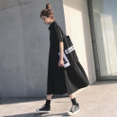 Dress Summer 2021 black S,M,L longuette singleton  Short sleeve street Polo collar High waist Solid color Socket other routine Others 18-24 years old Type H SINGKBEE Button More than 95% Chiffon other Punk