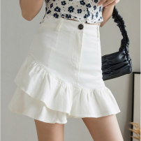 skirt Summer 2021 S M L XL white Short skirt Versatile Natural waist Ruffle Skirt Solid color Type A 18-24 years old More than 95% Denim Love for Immortals other Other 100% Pure e-commerce (online only)
