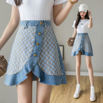skirt Summer 2021 S M L XL 2XL blue Short skirt commute High waist Ruffle Skirt lattice Type A 18-24 years old More than 95% Denim Love for Immortals other Asymmetric button stitching with ruffles Korean version Other 100% Pure e-commerce (online only)