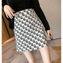 skirt Summer 2021 S M L Black and white Short skirt Versatile High waist A-line skirt letter Type A 18-24 years old 71% (inclusive) - 80% (inclusive) other Amiluck polyester fiber zipper Polyester 72% viscose 28% Pure e-commerce (online only)