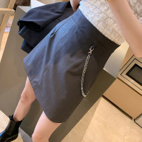 skirt Spring 2021 S M L XL Grey black brown Short skirt Versatile High waist A-line skirt Solid color Type A 18-24 years old AK-4-131-808 51% (inclusive) - 70% (inclusive) other Amiluck polyester fiber Chain button zipper Polyester 65% polyacrylonitrile 35% Pure e-commerce (online only)