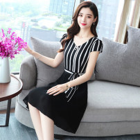 Dress Summer of 2019 Wave point fringe S M L XL 2XL Mid length dress singleton  Short sleeve commute V-neck middle-waisted Dot Socket A-line skirt routine Others 30-34 years old Princess Daixiang Korean version Ruffle print GT-1F-105-8811 More than 95% Chiffon polyester fiber Polyester 100%
