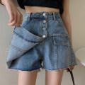 Jeans Summer 2021 blue S M L XL 2XL 3XL 4XL 5XL shorts High waist Wide legged trousers Wash and whiten zipper Cotton denim ZC706 Mengdi Liani Other 100% Offline only (only offline o2o sales)