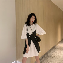 Dress Summer 2021 White T + stripe sling gray T + stripe sling S M L XL Short skirt Two piece set Short sleeve commute Crew neck High waist Solid color A-line skirt routine Others 18-24 years old Type A Fan Ersha Korean version HJW9160 More than 95% polyester fiber Polyester 100%