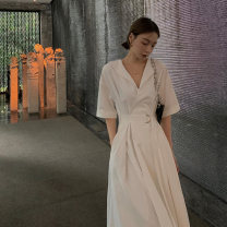Dress Summer 2021 white S M L XL longuette singleton  Short sleeve commute V-neck High waist Solid color Socket A-line skirt routine Others 25-29 years old Type A Fan Ersha Korean version Frenulum HJW0551 More than 95% Chiffon polyester fiber Polyester 100%