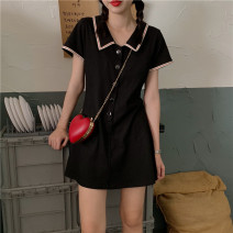 Dress Summer 2021 Black light grey S M L XL Short skirt singleton  Short sleeve commute Polo collar High waist Solid color Single breasted A-line skirt routine Others 18-24 years old Type A Ming Meiting Korean version Button 2#330#571 More than 95% other other Other 100% Pure e-commerce (online only)
