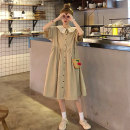 Dress Summer 2021 khaki S M L XL Middle-skirt singleton  Short sleeve commute Admiral High waist Solid color Single breasted A-line skirt routine Others 18-24 years old Type A Ming Meiting Korean version Pleated button More than 95% other other Other 100% Pure e-commerce (online only)