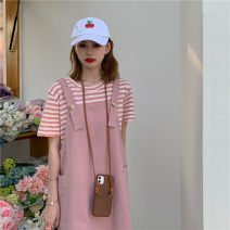 Dress Summer 2021 S M L XL Short skirt singleton  Short sleeve commute Crew neck High waist Solid color Socket A-line skirt routine Others 18-24 years old Type A Ming Meiting Korean version Pocket strap More than 95% other other Other 100% Pure e-commerce (online only)