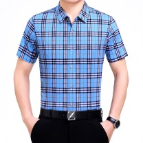 shirt Fashion City Aimontejiao 165/84A,170/88A,175/92A,180/96A,185/100A,190/104A,195/108A Blue - 3 -- 37 routine square neck Short sleeve easy daily summer middle age Mulberry silk 100% Business Casual 2021 lattice silk No iron treatment silk Easy to wear More than 95%