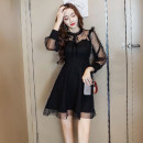 Dress Autumn of 2018 black S,M,L,XL,2XL Short skirt singleton  Long sleeves commute Crew neck High waist Solid color zipper Big swing routine Others Type A Other / other Korean version Bow, hollow, open back, fold, Auricularia auricula, splicing, three-dimensional decoration, mesh, zipper brocade