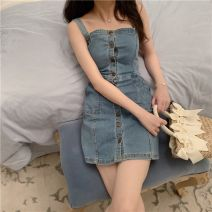 Dress Summer of 2019 Spot, pre-sale 7 working days S,M,L Short skirt singleton  Sleeveless commute One word collar Solid color Single breasted A-line skirt straps 18-24 years old Type X Strap, button BK0063 Denim