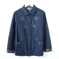 Middle aged and old women's wear Autumn 2020 Denim L,XL,2XL,3XL,4XL leisure time shirt easy singleton  50-59 years old Cardigan thick Polo collar routine Embroidery pure cotton 96% and above Single breasted Long sleeves